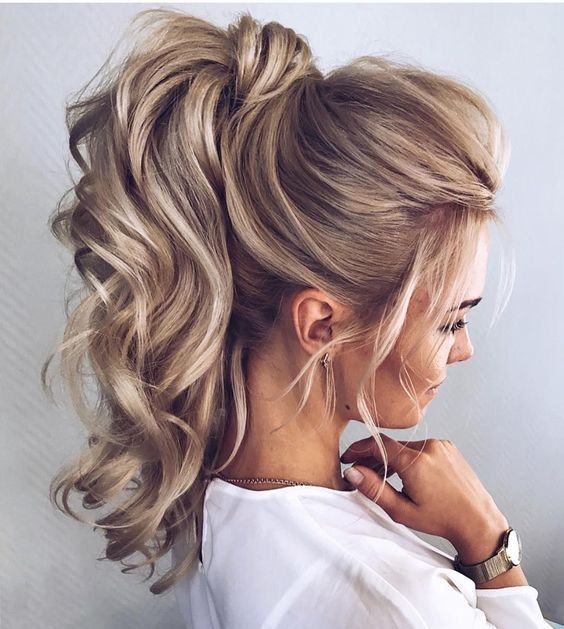 High Ponytail with Curly Ends
