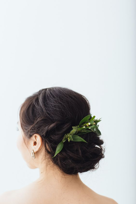 Hair Updo with Floral Piece