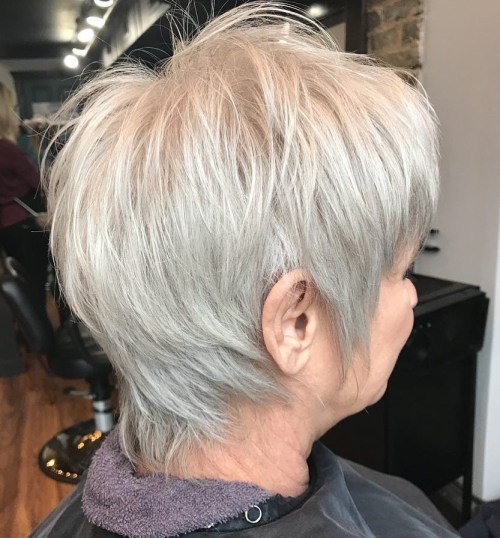 Short Hairdos for Older Women to Liven Your Look Up and Take Years Off of Your Face 5-onecolor-silver-pixie-with-choppy-layers