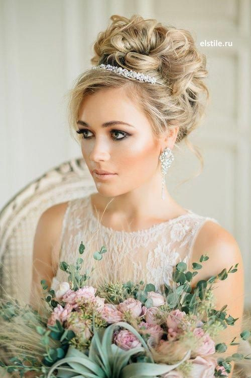 Wavy Updo with Silver Tiara
