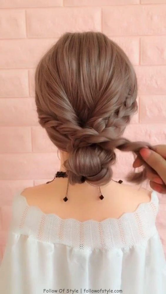 Dreamy, Low Bun with Braid