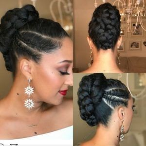 Short Braid Hairstyle for Black Hair Tied Upwards
