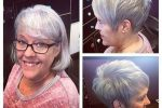 Highlighted Pixie Haircut With Long Side Bangs
