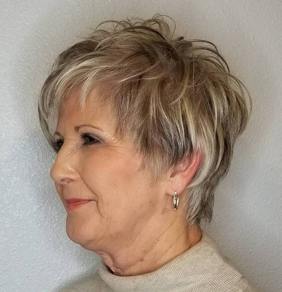 Feathered Gray Haircut with Highlight & Lowlight
