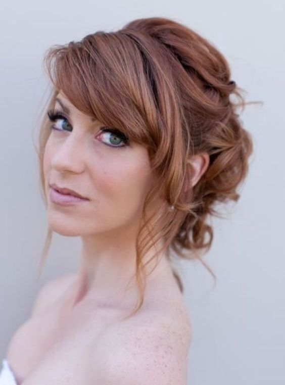 Wedding hairstyles with side fringe