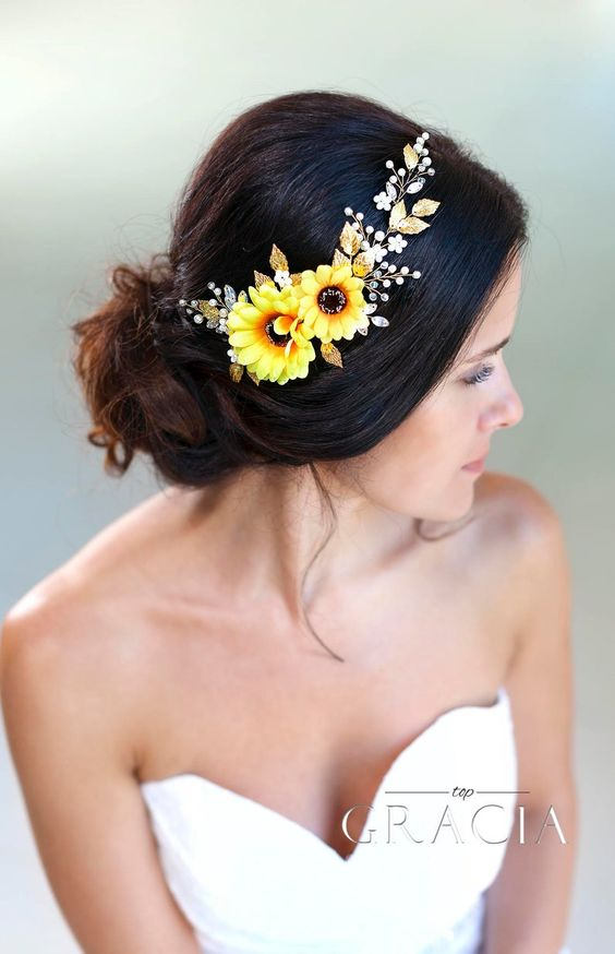 40 Different Types of Wedding Hairstyles that Look Gorgeous Wedding-hairstyles-with-sunflowers