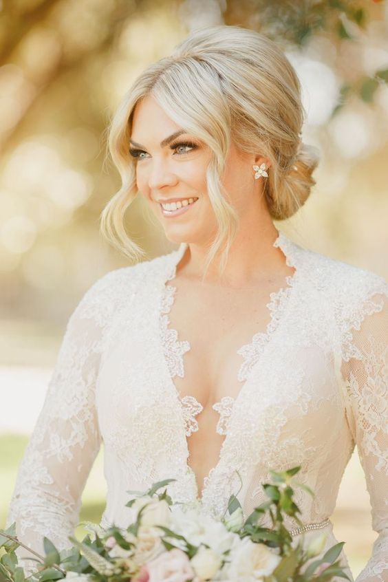 40 Different Types of Wedding Hairstyles that Look Gorgeous Wedding-hairstyles-with-v-neck-dress