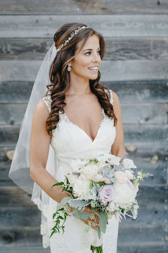 40 Different Types of Wedding Hairstyles that Look Gorgeous Wedding-hairstyles-with-veil-and-headpiece
