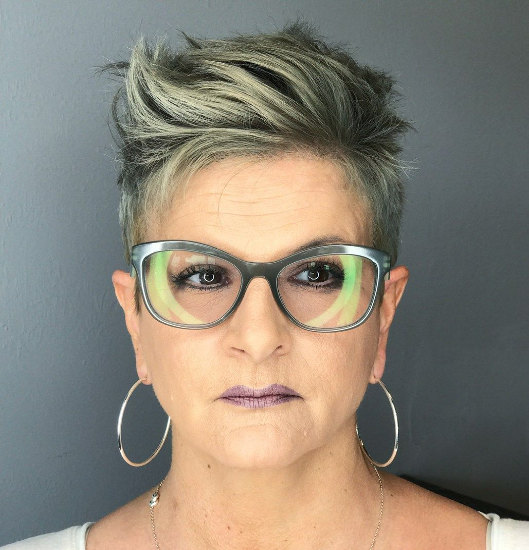 56 Short Hairstyles for Women Over 60 with Glasses (Updated 2021) f2f1d649b424d19085bcec27e65bfca8