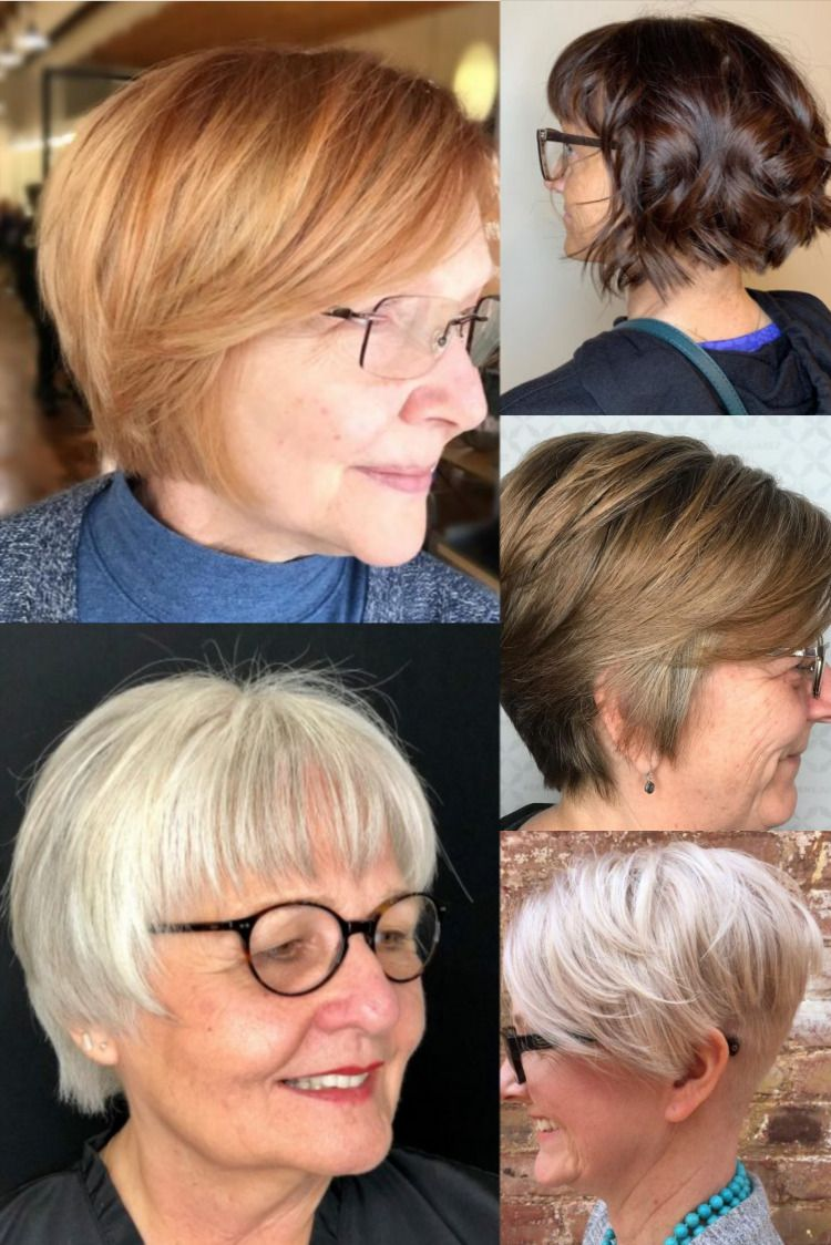 Short hairstyles for over 50 women with glasses